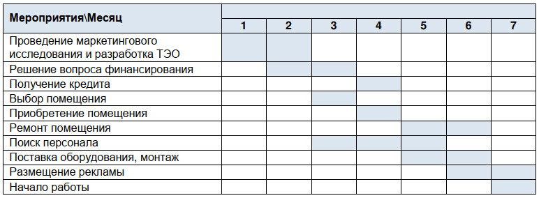 календарный план реализации проекта